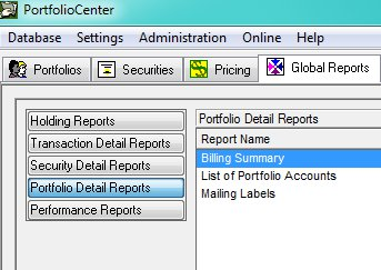 PortfolioCenter Global Reports Menu